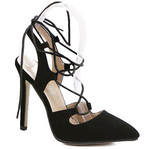 Stylish Flock and Black Color Design Women's Sandals - BLACK 39