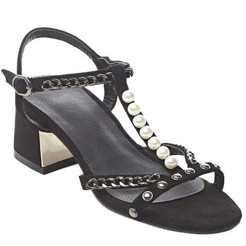 Stylish Women's Sandals With Chains and Beading Design - BLACK 39