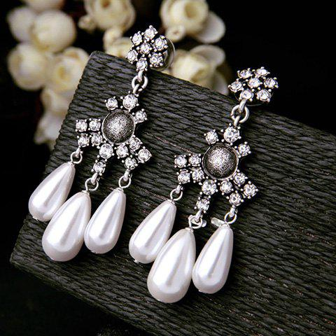 Pair of Charming Rhinestone Faux Pearl Floral Drop Earrings For Women - WHITE