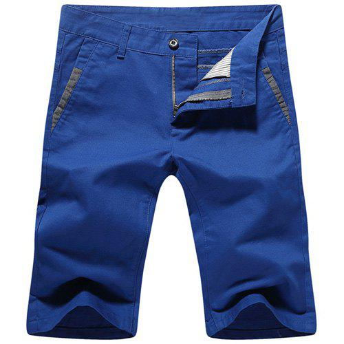 Casual Summer Straight Legs Zip Fly Shorts For Men - BLUE 28