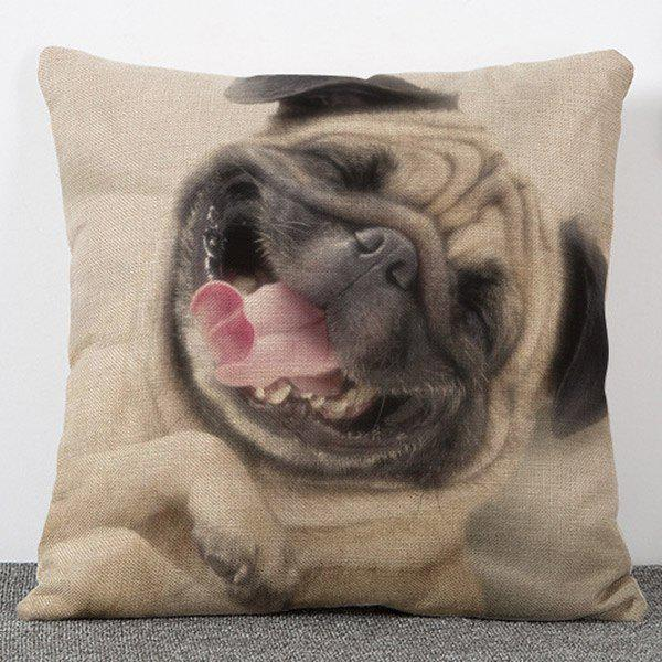 Creative Sweet Style Animal Dog Pattern Flax Pillow Case(Without Pillow Inner) - COLORMIX