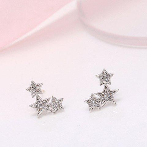 Pair of Star Rhinestone Stud Earrings - WHITE GOLDEN