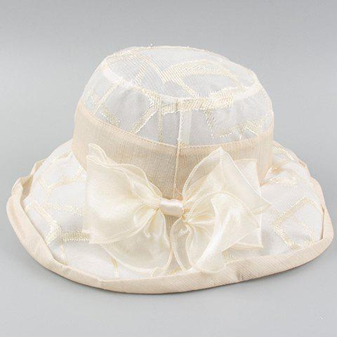 Chic Yarn Bow Embellished Edge Curl Women's Summer Bucket Hat - OFF WHITE