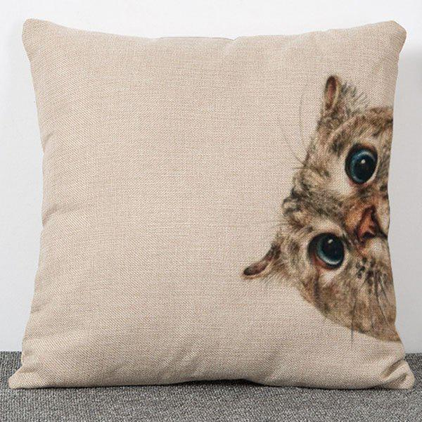 Animal Cat Pattern Flax Sofa Cushion Pillow Case - APRICOT