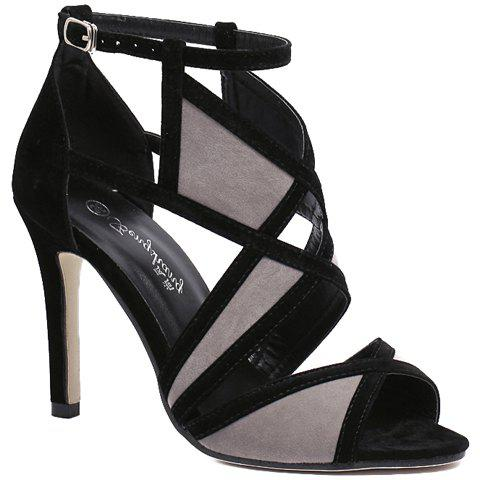 Fashionable Colour Block and Flock Design Women's Sandals - BLACK/GREY 35
