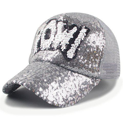 Chic Sequins and Letter Shape Embellished Women's Baseball Cap - SILVER GRAY