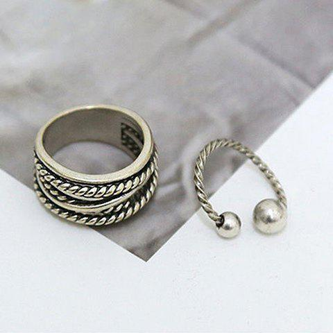2PCS Trendy Simple Style Cuff Rings For Women - SILVER ONE-SIZE