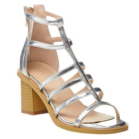 Stylish Metallic Color and Chunky Heel Design Women's Sandals - SILVER 38