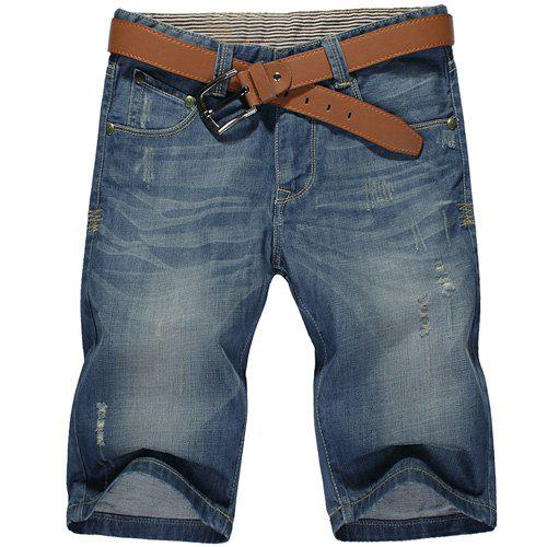 Casual Summer Ripped Zip Fly Straight Legs Denim Shorts For Men - BLUE 30
