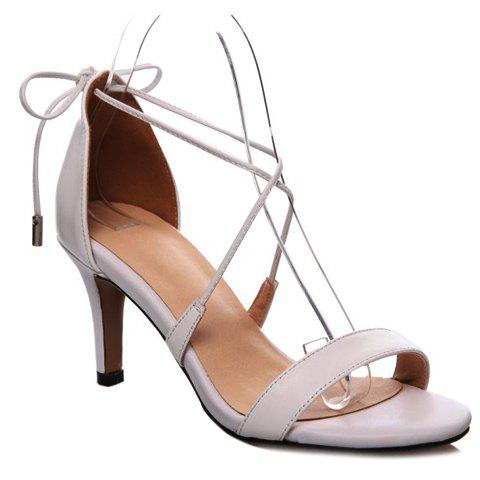 Simple Lace-Up and Stiletto Heel Design Women's Sandals - WHITE 38