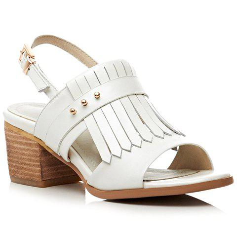 Fashion Chunky Heel and Fringe Design Sandals For Women - OFF WHITE 37