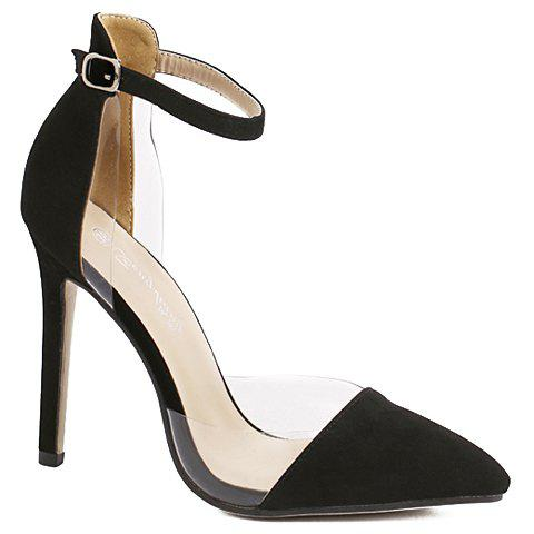 Stylish Two-Piece and Transparent Plastic Design Women's Pumps - BLACK 36