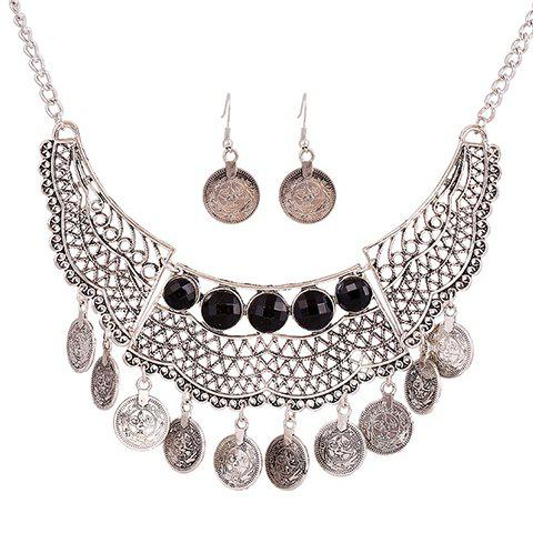 A Suit of Coins Pendant Necklace and Earrings