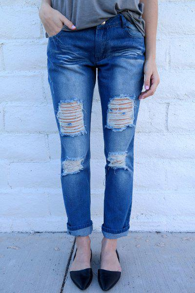 Trendy Mid-Waisted Bodycon Hole Design Women's Jeans - Bleu M