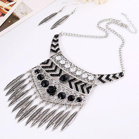 A Suit of Rhinestone Leaf Necklace and Earrings - SILVER