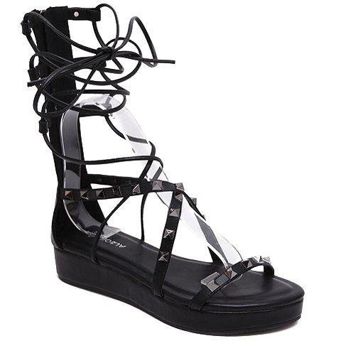 Trendy Solid Colour and Rivets Design Women's Sandals - BLACK 38