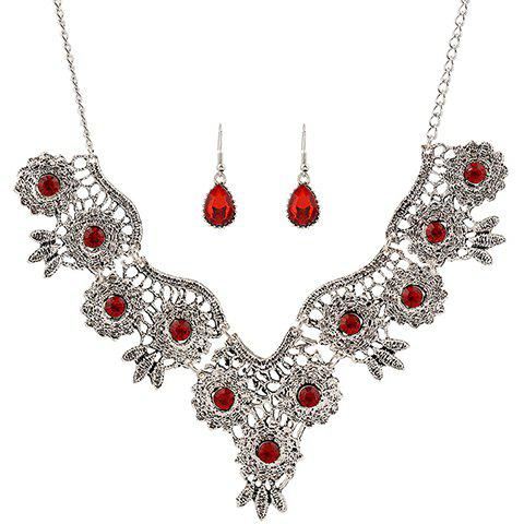 A Suit of Chic Rhinestone Water Drop Necklace and Earrings For Women