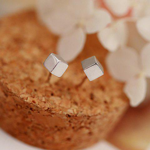 Pair of Cube Shape Stud Earrings - SILVER