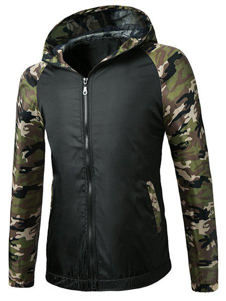 Color Block Camo Spliced Hooded Raglan Sleeve Jacket For Men - 3XL BLACK
