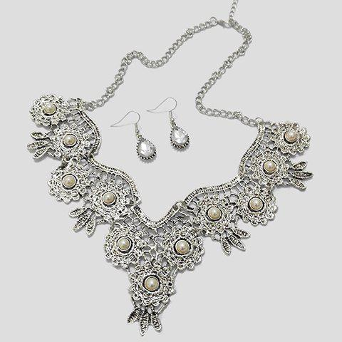 A Suit of Rhinestone Water Drop Necklace and Earrings - WHITE