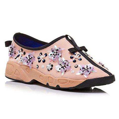 Trendy Flowers and Slip-On Design Sneakers For Women - PINK 38