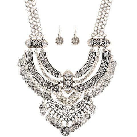 A Suit of Chic Coins Moon Necklace and Earrings For Women