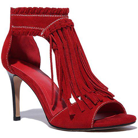 Fashion Fringe and Suede Design Sandals For Women - RED 39