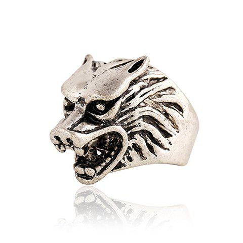 Chic Wolf Head Shape Ring For Men - ONE-SIZE SILVER GRAY