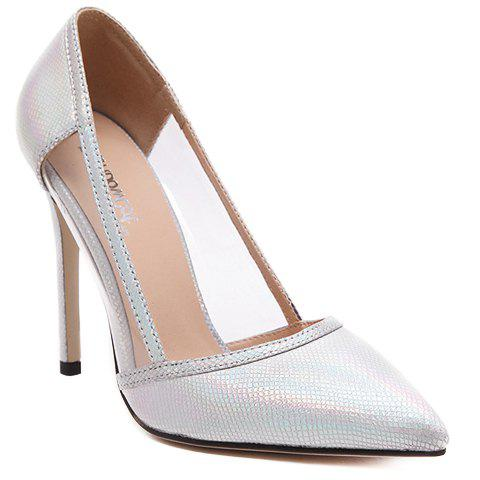 Fashionable Transparent Plastic and Embossing Design Women's Pumps - SILVER 35