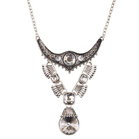 Alloy Faux Crystal Water Drop Necklace - SILVER