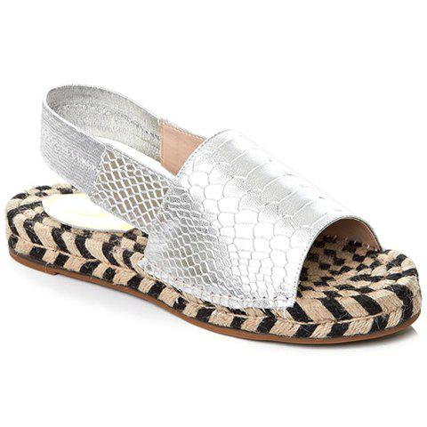 Casual Peep Toe and Elastic Band Design Sandals For Women - SILVER 36