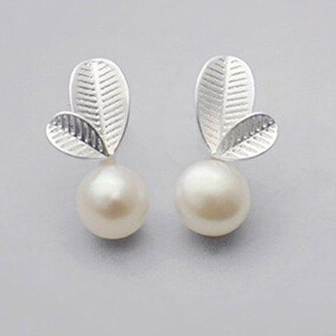 Pair of Leaf Faux Pearl Stud Earrings - SILVER