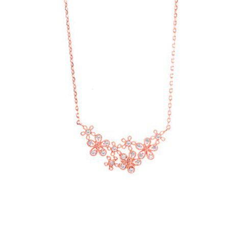Floral Rhinestoned Pendant Necklace - ROSE GOLD