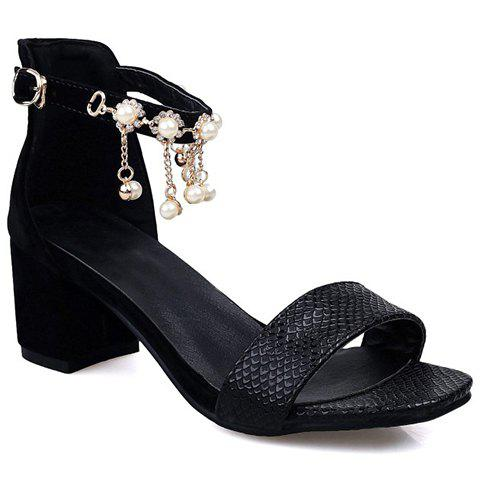 Fashionable Black Colour and Faux Pearls Design Women's Sandals