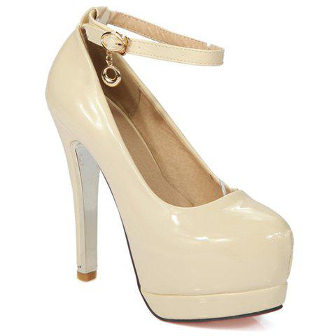 Simple Ankle Strap and Patent Leather Design Pumps For Women - OFF WHITE 36