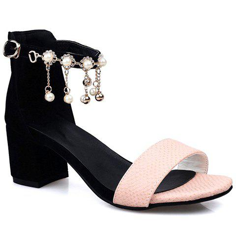 Stylish Faux Pearls and Embossing Design Womens SandalsShoes<br><br><br>Size: 39<br>Color: BLACK AND PINK