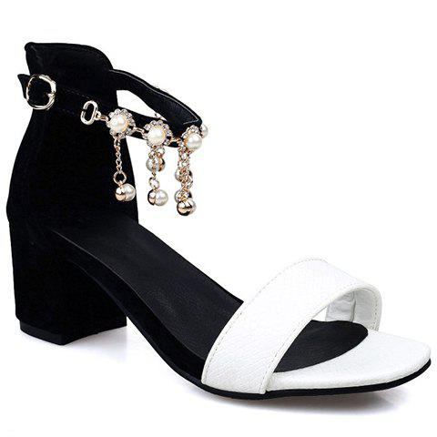 Stylish Faux Pearls and Embossing Design Women's Sandals - WHITE/BLACK 38