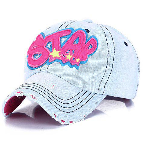Chic Broken Hole and Letter Shape Embellished Women's Jeans Baseball Cap - ROSE