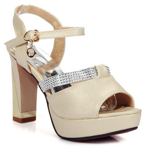 Fashionable PU Leather and Chunky Heeled Design Sandals For Women - BEIGE 36