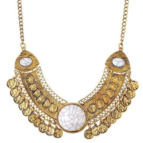 Chic Coin Hollow Out Necklace For Women - GOLDEN