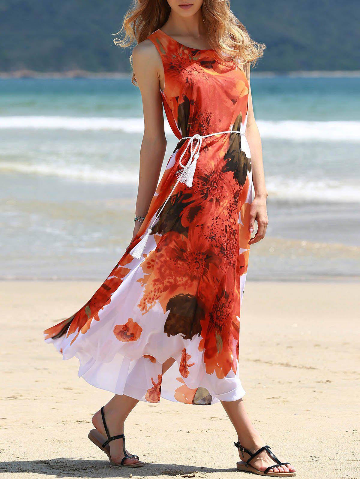 Graceful Round Collar Sleeveless Red Floral Print Chiffon Women's Dress - RED ONE SIZE(FIT SIZE XS TO M)