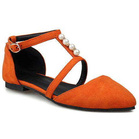 Trendy Suede and Beading Design Women's Flat Shoes - ORANGE 35