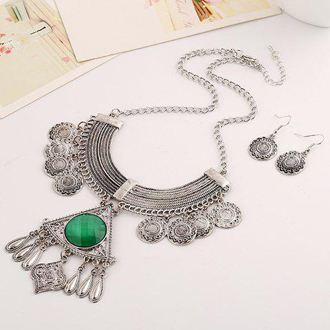A Suit of Geometric Floral Necklace and Earrings - GREEN