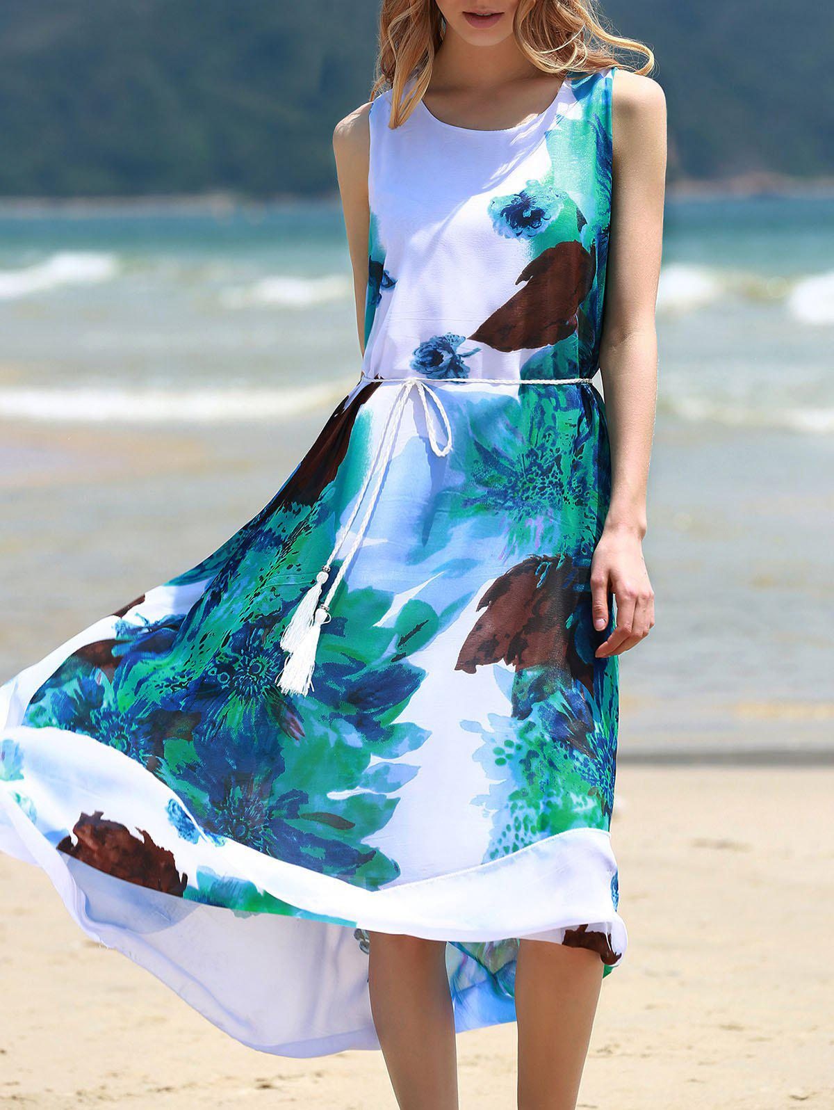 Graceful Round Collar Sleeveless Floral Print Chiffon Women's Midi Dress - WHITE/GREEN ONE SIZE(FIT SIZE XS TO M)