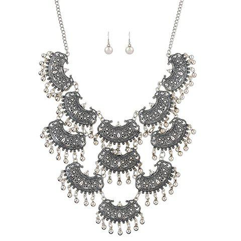 A Suit of Alloy Beads Necklace and Earrings - SILVER GRAY