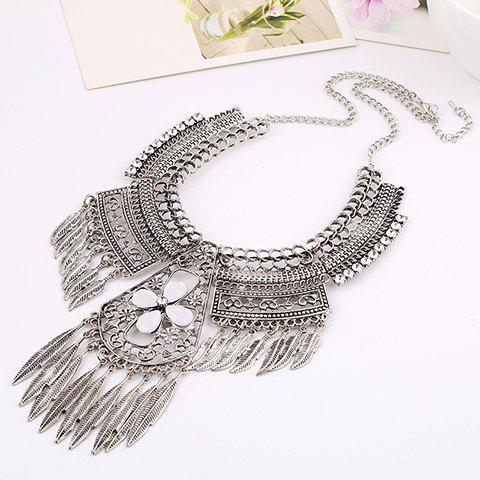 Floral Leaf Hollow Out Necklace - SILVER