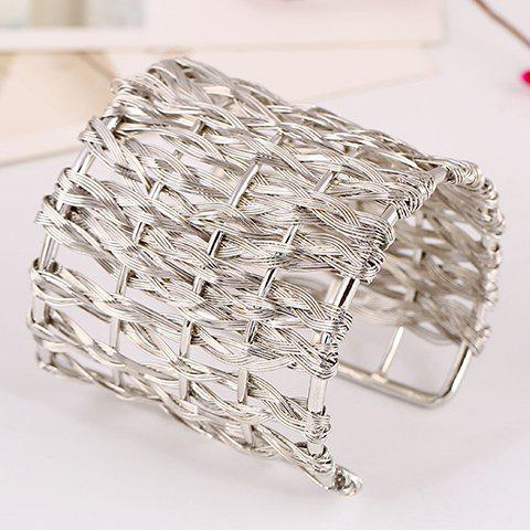 Hollow Out Woved Cuff Bracelet - SILVER