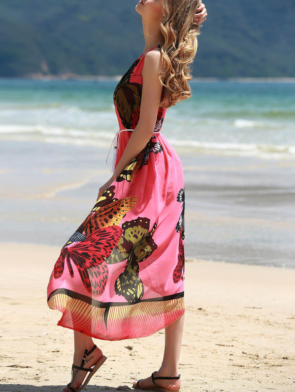 Graceful Round Collar Sleeveless Butterflies Print Women's Tea Length Dress - RED ONE SIZE(FIT SIZE XS TO M)