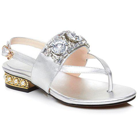 Trendy Beading and Flip Flop Design Women's Sandals - SILVER 38