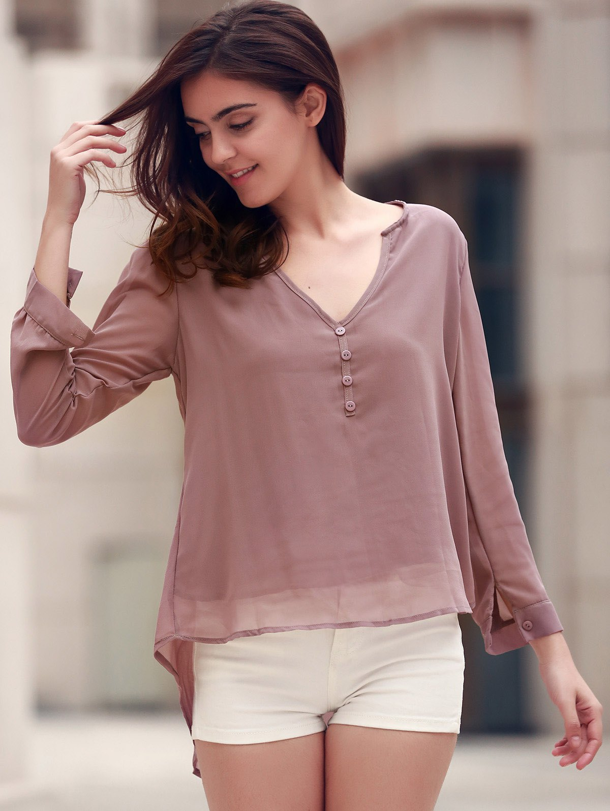 Stylish V-Neck Coffee High Low Long Sleeve Blouse For Women
